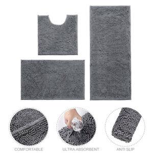 3pcs/set Shower Bathroom Rug Shaggy Bath Mat Anti Slip Super Absorbent Chenille