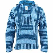 Mexican Baja Jerga light blue hooded hippie top