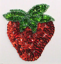 STRAWBERRY SEQUIN BEADED APPLIQUES 3464-K