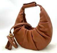 AUTH NWT $350 STAUD Mini Moon Soft Leather Hobo Shoulder Bag In Tan Color