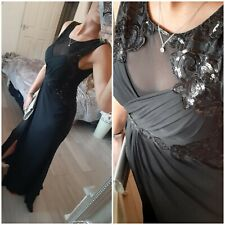 LIPSY SIZE 8 - 10 BLACK SEQUIN EMBROIDERED STRETCH MAXI DRESS @ NEXT 7993 /£92