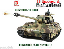Heng Long King Tiger  Military tank with Henschel Turret  BB shooting 2.4G !!