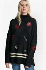 NEW FRENCH CONNECTION BLACK EMBROIDERED ROLL NECK FLUFFY KNIT JUMPER