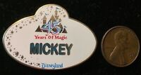 RARE LE OLD Disneyland Pin DLR Cast Member 45th Anniversary Nametag Mickey Mouse