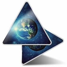 2 x Triangle Stickers 10 cm - Planet Earth Space Moon  #8544