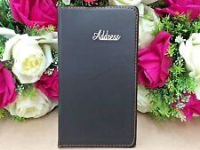 Black Leather Grain Address Book Phone E-mail Office Telephone 120 pages NEW