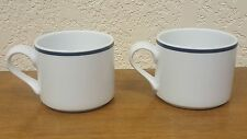 2 Dansk Bistro Coffee Mug Tea Cup White w/ Blue Rim Portugal