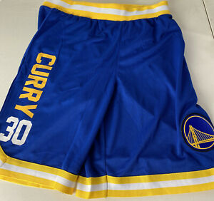 NBA Golden State Warriors Shorts Steph Curry #30 Big Patch Spellout Logo NEW L