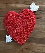 "Vintage Melted Plastic Popcorn Heart & Arrow Valentine's Day Decoration 18"""