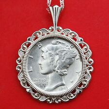 US 1943 Mercury Dime 90% Silver 10c Coin Solid 925 Sterling Silver Necklace NEW