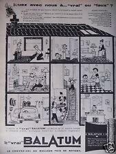 PUBLICITÉ 1958 LE VRAI BALATUM LE COUVRE-SOL BANDE DESSINÉE - ADVERTISING