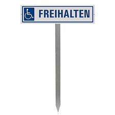 """Parkplatzschild """"BEHINDERTEN PARKPLATZ"""" mit Einschlagpfosten / Spieß Nr.35438"""