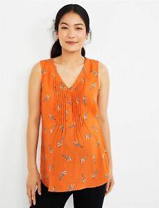 Daniel Rainn Pleated Maternity Blouse sleeveless orange giraffe print medium NEW