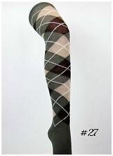 Argyle Check Diamond Stretch Long Knee High Socks Pub Golf Fancy Dress #27 Greens Brown