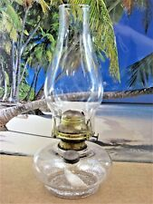 ANTIQUE REX KEROSENE OIL LAMP MADE IN USA WITH THICK CLEAR GLASS OLD CHIMNEY