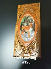 Oak log carving white tailed deer, great for the Hunter in your life. Wildlife