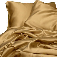 Satin Sheet Set QUEEN Size Gold Silk Feel Luxury Bedding NEW Silky Bed Linen New