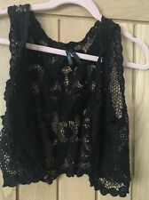 Chaleco Crochet Negro Sin Mangas Cardi Talla M FESTIVAL