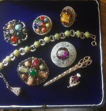 Vintage Scottish Celtic Jewellery Job Lot Bracelet Kilt Pin Ring and Brooches