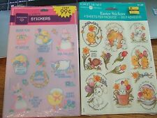 Vtg lot 2 packs hallmark american greeting Flowers Spring Stickers bunny ducks +