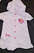 Barbie Avenue White Short Sleeve Terry Cloth Swim Bath Hoody Robe Button Girls 6