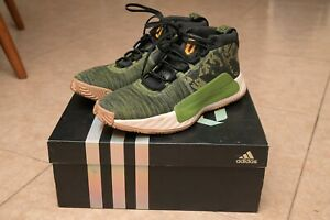 Adidas Dame 5 Black Green Camo Basketball Sneakers Ssize 10.5 Mint