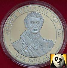 2005 Islas Cook $1 dólares Arthur Wellesley historia británica .500 Moneda De Plata
