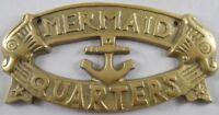 MERMAID QUARTERS Sign Nautical Plaque Mermaids Signs w/ Fish & Anchor Wall Decor