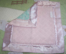 GoochieGoo.com Goo Goo Ga Ga Pink Aqua Plush Baby Girl Security Blanket w/Satin