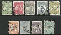 Australia Scott #1-6 & 8-10, Singles 1913 FVF Used