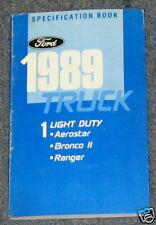 1989 Ranger Bronco II Aerostar Spec Book Manual