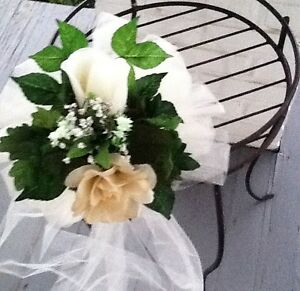 20 Wedding Pew Bows Ivory And  Champagne  Or You Chose Your Color