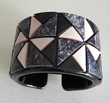 MIMCO~WIDE~CUFF BRACELET~BLACK~MARBLED GREY & PINK~GEOMETRIC SHAPES