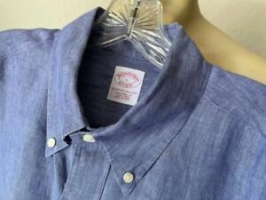 BROOKS BROTHERS Men's 100% LINEN Ocean Blue Solid Long Sleeve Shirt Large **