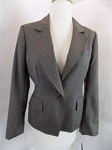 NWT Women's Anne Klein Pin Striped Suit jacket Sz 6P L/S 1 button Gray 3 Pockets