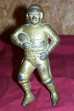 Old Football Player Cast Iron Piggybank AC Williams Vintage Antique Still Coin
