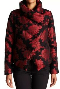 153. ALICE + OLIVIA Rose black red jacquard down puffer coat jacket Xs $698