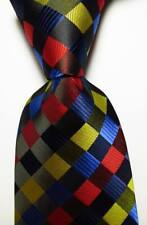 New Classic Checks Black Blue Red Yellow JACQUARD WOVEN Silk Men's Tie Necktie