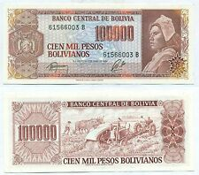 BOLIVIA NOTE 100000 PESOS BOLIVIANOS DECREE 1984 SERIAL B P 171 UNC