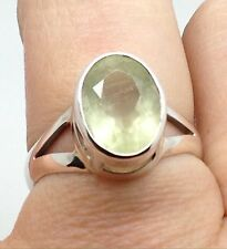 Prehnite oval ring, solid Sterling Silver, UK Size R 1/2, faceted. New.