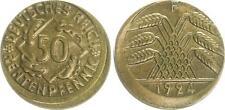 Weimar,  50 Pfennig 1924F Fehlprägung 10-15 % dezentriert, vorzüglich