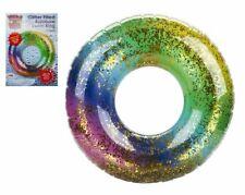 """Gigante hinchable Natación Anillo 36"""" Arco Iris Brillo Agua Flotador Piscina Diversión playa UK"""