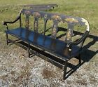 Antique Black Primitive Deacons Wide Plank Seat Bench Balloon Back Gold Stencils