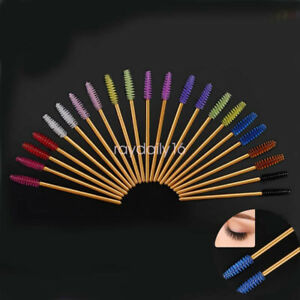 100pc Gold Rod Disposable Eyelash Eye Lash Makeup Brush Mascara Wands Applicator