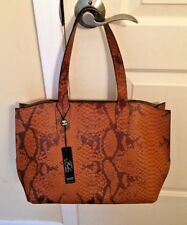 Falor Made In Italy Croco Brown Leather Structured Tote NWT