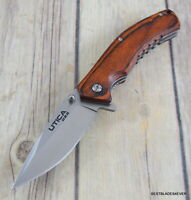 "UTICA USA ""WOODSMAN LINERLOCK"" EDC FOLDING KNIFE WITH POCKET CLIP MADE IN USA"