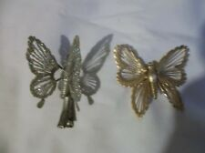 1 Butterfly Hair Clip Silver Colored 1 Butterfly Pin Gold Colored &