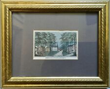 Antique Old 19th Century Hand Colored Engraving Print Historic Deerfield MA Mini