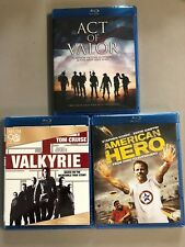 Act of Valor + Valkyrie + American Hero Blu-ray lot New Free Ship