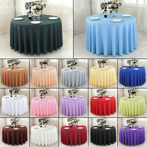 Large Damask Solid Color Tablecloths Cover Rectangular Round Square Oval Banquet